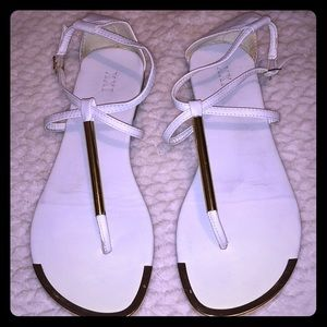 XXI white sandals with gold metals hardware